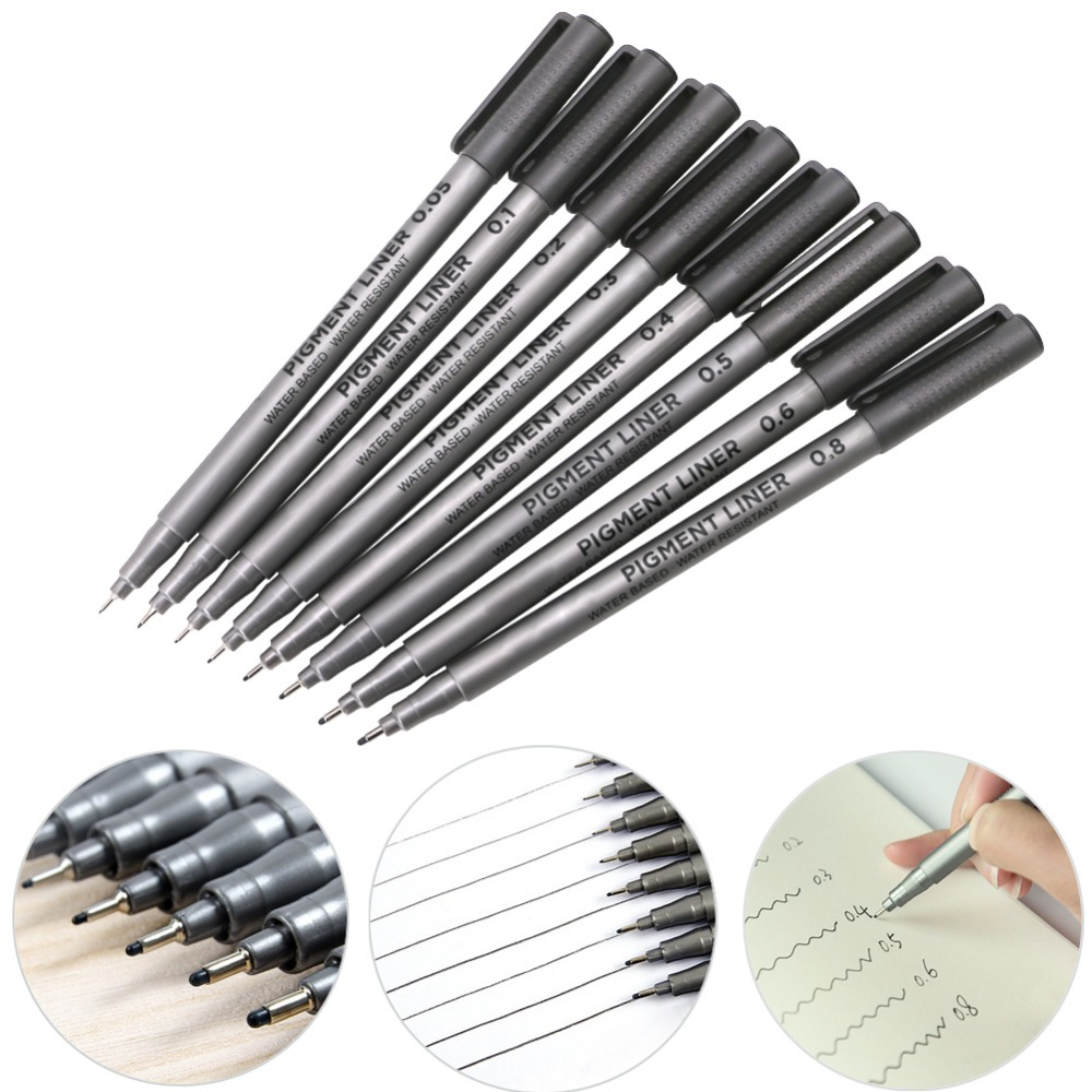 1Pc 0.05/0.1/0.2/0.3/0.4/0.5/0.6/0.8mm Black Fine Line Pen Waterproof Drawing Writing Sketching Art Pens C26