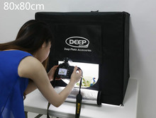80×80 CM Photo Studio foto kit 2 UNIDS LED Photo Studio caja suave Shooting Tent Light photo light tienda + funda portatil + 2 telones de fondo