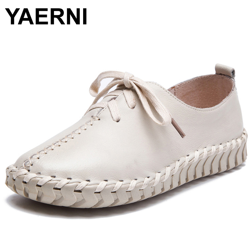 YAERNI Genuine Leather Loafers Casual Platform Shoes Woman Slip On Flats 2017 Bowtie Moccasin Comfortanble Creepers Women Shoes breathable loafers sweet bowtie platform shoes woman 2017 summer slip on ballet flats casual cut out creepers women sandals f05