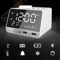 K11 Bluetooth Alarm Clock Speaker Dual USB Interface Charging Audio Music Clock LCD Display Temperature FM Radio Clock