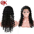 QueenKing Brazilian Human Hair Lace Front Wigs With 3 Combs Glueless Wig 120% Density Deep Curl Human Remy Hair Wigs With Strap