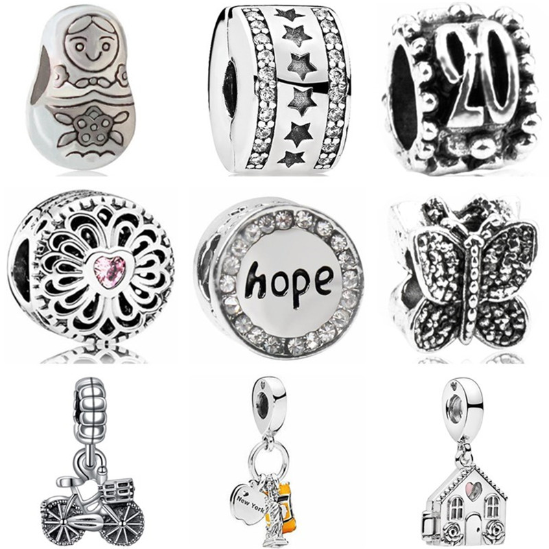 Stopper Beads Jewelry Doll Charms Fit Pandora Butterfly Flower High-Quality Women
