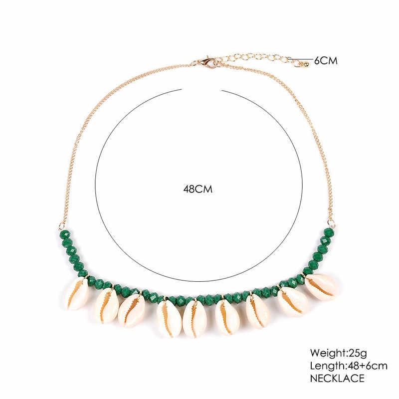 自由奔放に生きる貝殻のチョーカーネックレスシェル Kolye 襟 Conchas 緑、赤、青自然石ゴールドチェーンネックレス 2019 ジュエリー