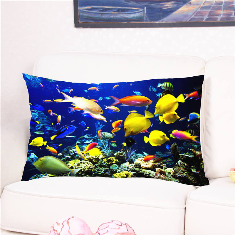 3D Ocean World Printed Cushion Cover Cotton with Plush Square Pillow Case for Sofa Bed 50*75 Capa De Almofadas Funda Cojines