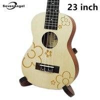 23 Ukulele Concert Acoustic Mini Hawaiian guitar 17 Fret 4 strings Electric Ukulele Plum blossom pattern with Pickup EQ