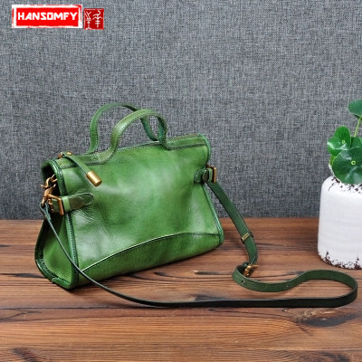 Handmade small Women bag Original design retro vegetable tanned leather shoulder Bags female handbag portable Messenger