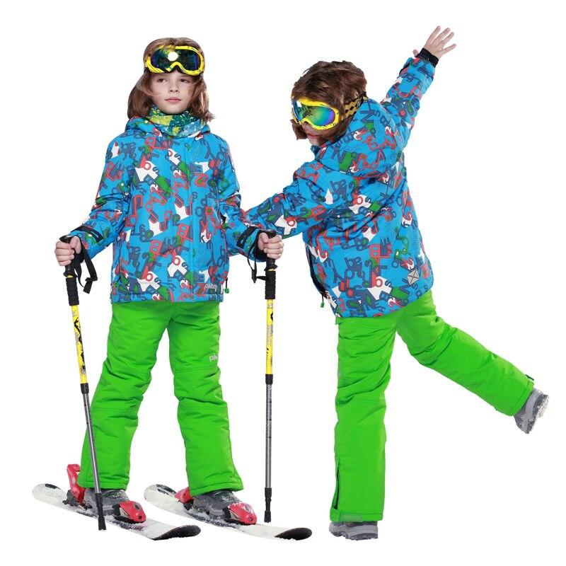ФОТО Phibee Waterproof Boys Ski Suit  Kids Thick Ski Jacket Ski Pants Windproof Snowboard  Jacket -30 Degree 8012