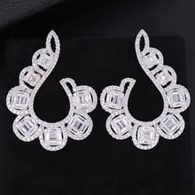 купить SisCathy Big Statement Earrings For Women Elegant Shiny Cubic Zirconia Stud Earrings Wedding Party Ear Jewelry Accessories дешево