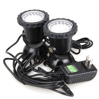 one driving two 36-LED Garden Pool Aquarium LED Underwatar Submersible Spot Light Lamp for Fountain Fish Pond Tank Water Garden