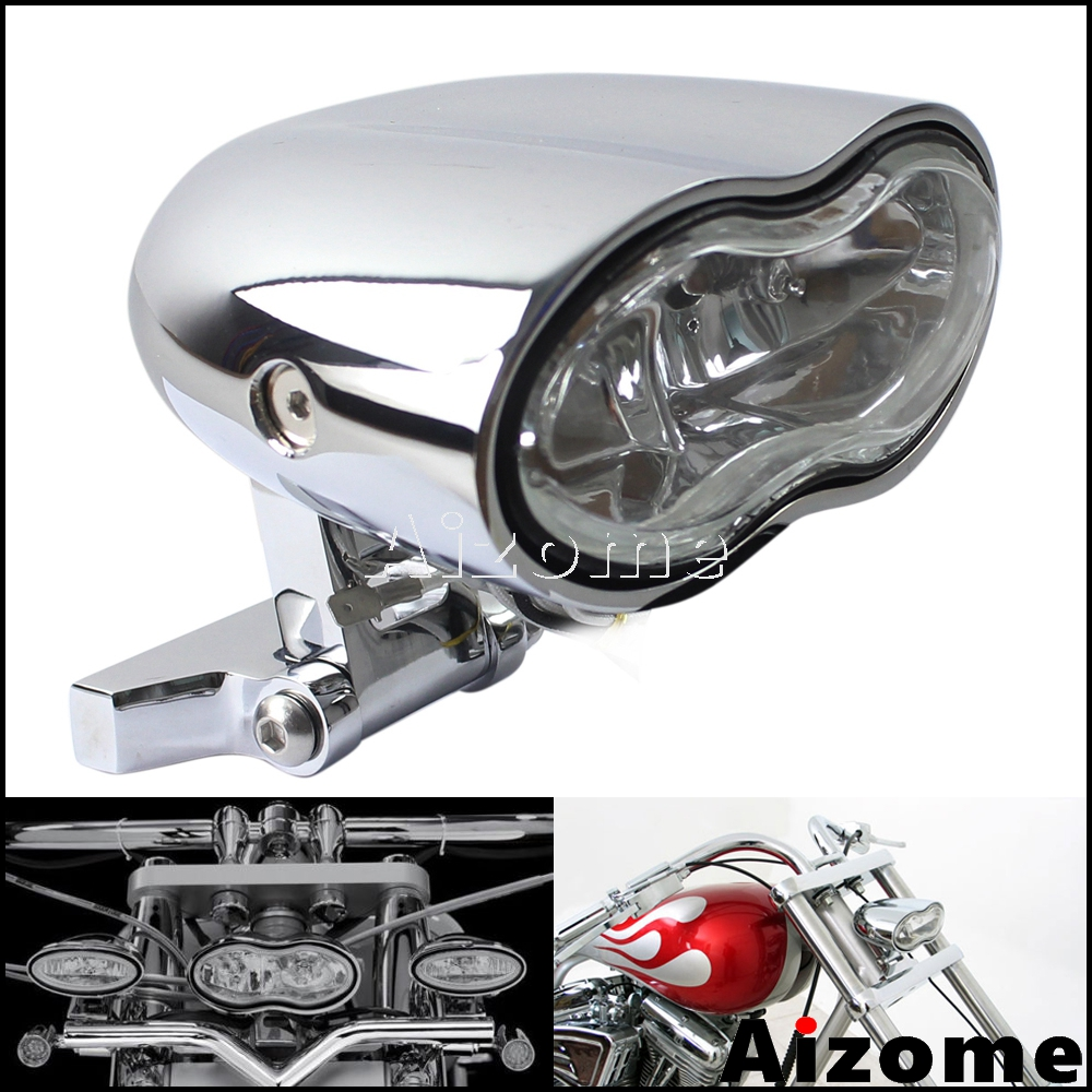 Motorcycle Oval Headlight Custom Streetfighter Twin Headlight H3 55W For Harley Cafe Racer Double Wave Headlight