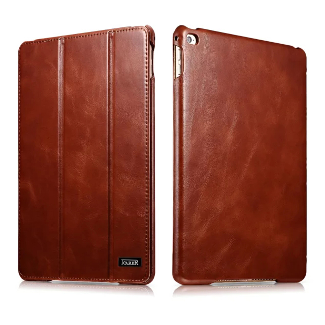Icarer 3 Colors Business Vintage Genuine Leather Folio Case For iPad Mini 4 Retro Cowhide Leather