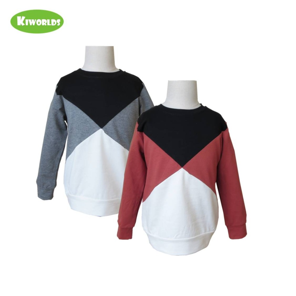 2018 Spring Hot Sale Cotton Long Sleeve Boys and Girls T-Shirt ,with Split joint White Black and red&grey boys clothing red longline sleeveless check shirt with split hem