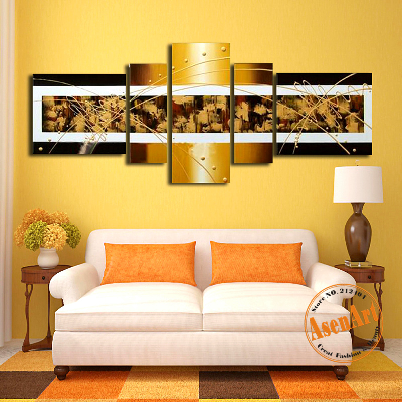 5 Panel Canvas Wall Art Modern Abstract Oil Painting Handmade Canvas ...