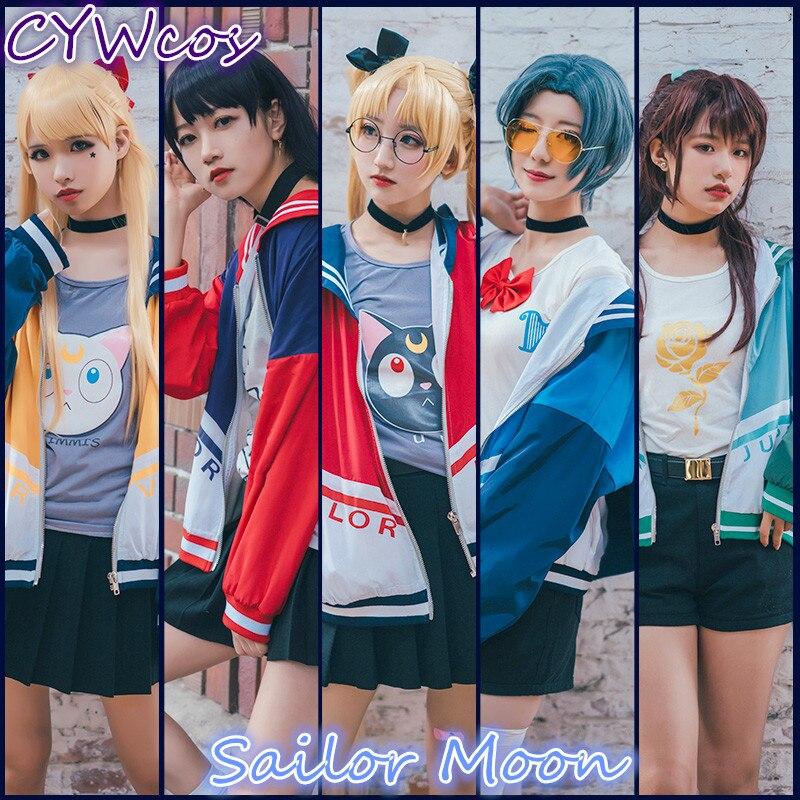 Anime Cosplay Sailor Moon Sailor Venus Minako Aino Hino Rei Kino Makoto Mizuno Ami Cosplay Costume Baseball Uniforms Costumes