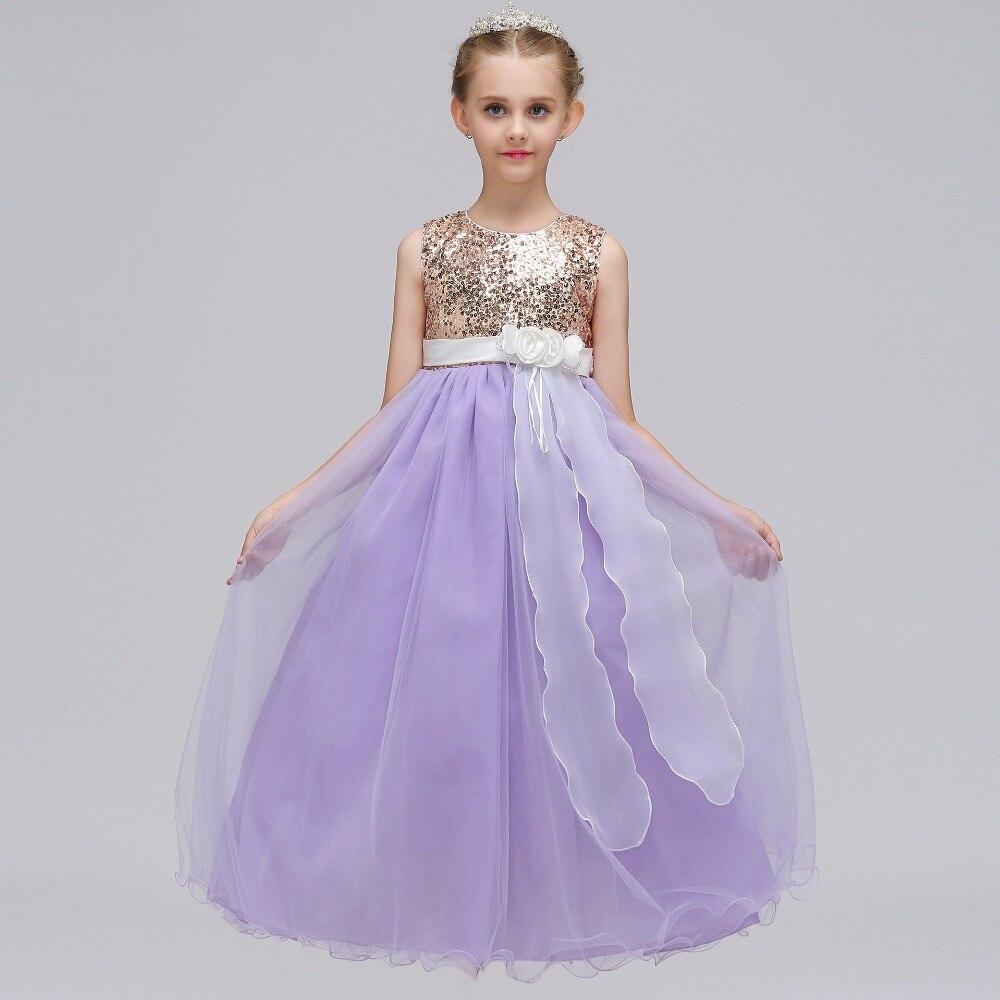 New Designe Cute Long Lace Applique Tulle Flower Girls Dresses ...