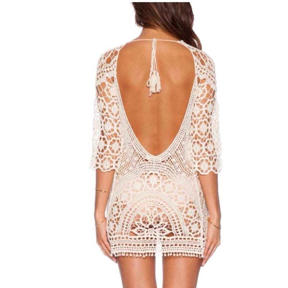 Sexy Backless Bikini Cover Up Knitted Swimsuit Cover Up Sexy Summer Dress Crochet Long Sleeve Dress Hot Sale Hollow Beach Wear
