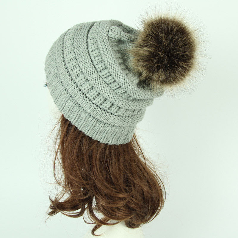 Women Ladies Cute Casual Warm Braided Crochet Wool Knit Beanies With Ball Cap Baggy Winter Warm Hat Outfit Outdoors 8 Style