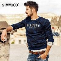 הדפסת מכתב הסוואה Simwood 2018 אביב חדש שיק מעוצב שרוול מלא צוואר עגול גברים סווטשירט WY8010