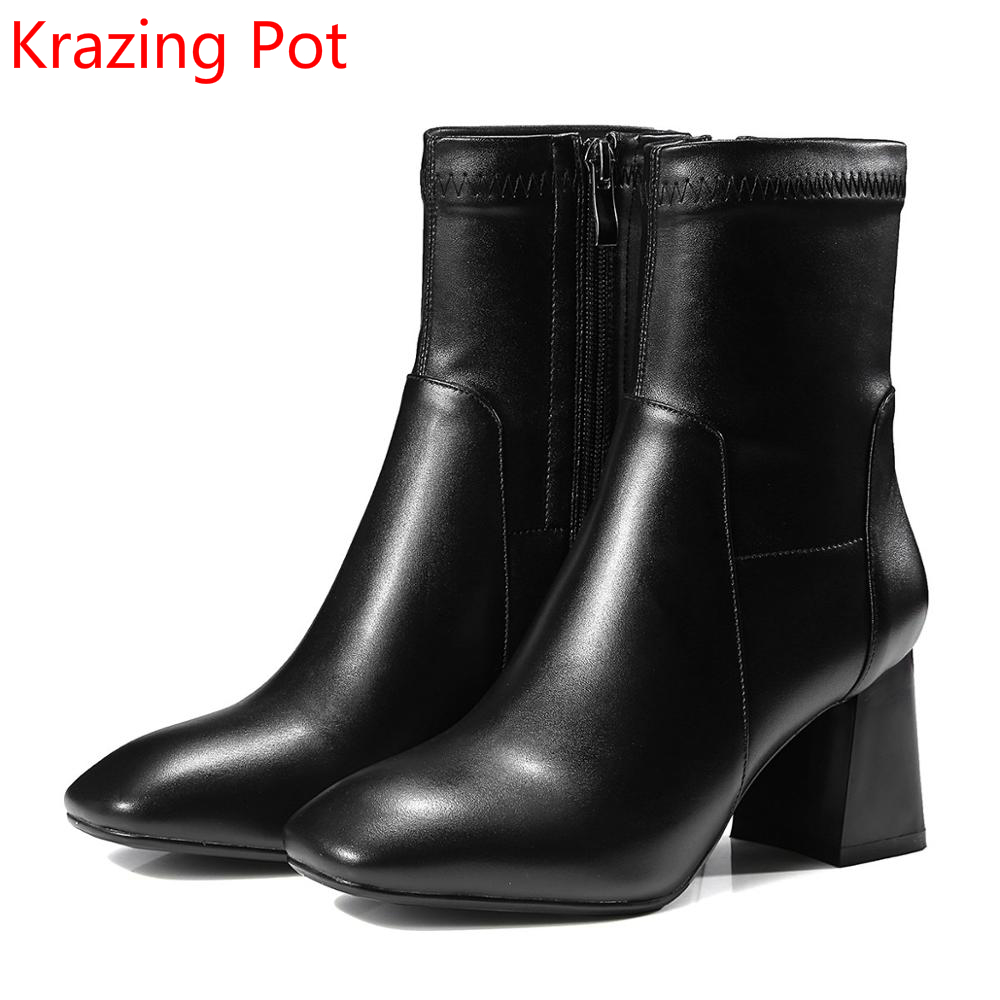 2018 Handmade Genuine Leather Winter Boots High Heel Solid Superstar Runway Casual Zipper Concise Stretch Mid-calf Boots L61 рюкзак deuter daypacks giga bike 28l 2015 turquoise midnight