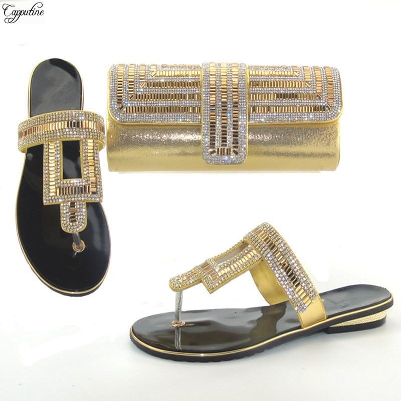 Довольно золотые африканские тапочки с ручной комплект с сумкой модная обувь и комплект с сумкой со стразами THS17-07. Размер 37-43