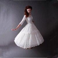 2016 Vintage 50s Poland Style Scoop Neck Tree Quarter Tea Length Lace Classical Wedding Dresses Wedding