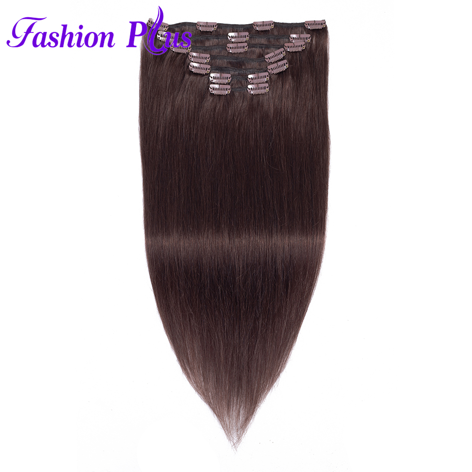 Clip In Human Hair Extensions 120g Machine Made Remy Hair Extensions Clip In Full Head 7PCS Clip On Hair Extension Natural Color(China)