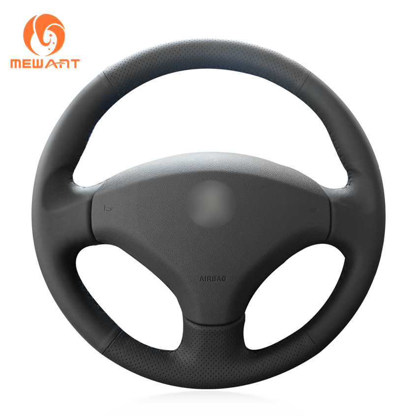 MEWANT Black Genuine Leather Car Steering Wheel Cover for Old Peugeot 408 Peugeot 308 wcarfun hand stitched black leather steering wheel cover for peugeot 308 old peugeot 408