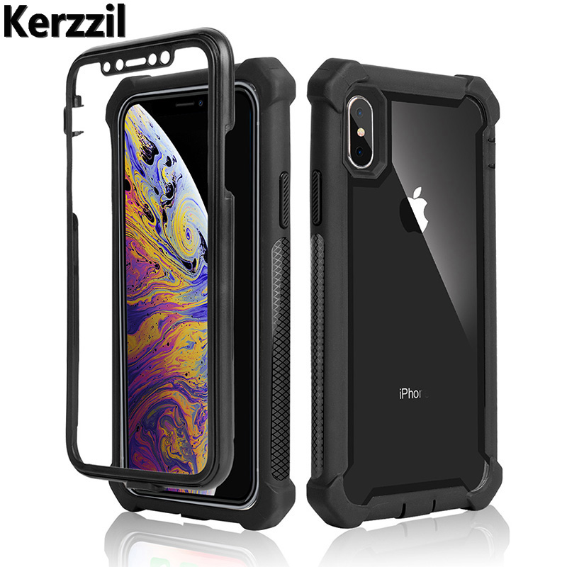 Kerzzil 360 Armor Case For IPhone X XR Xs Max Full-Body Protective Rugged Bumper Clear Cover Cases For IPhone 8 7 6 6s Plus