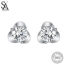 Фотография SA SILVERAGE Real 925 Sterling Silver Flower Stud Earrings for Women Fine Jewelry 925 Sterling Silver Stud Earrings, 3 Styles