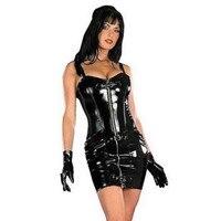 Hot Koop Plus Size Vrouwen Gothic Zwart Sexy Mini Bodycon Lederen Jurk Met Front Zip M7054