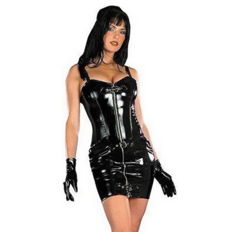 Hot Sale Plus Ukuran Wanita Gothic Hitam Sexy Mini Bodycon Kulit Gaun Dengan Zip Depan PVC Catsuit Night Culb Dance Wear Sexy