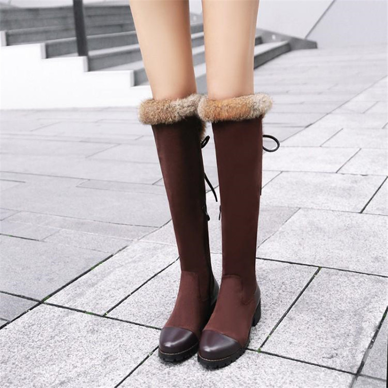 Women\`s Thigh High Boots Autumn Winter Slim Long Tube Over the Knee Boot Big Size 33-43 Female Snow Boots Black Brown Lady Shoe (11)