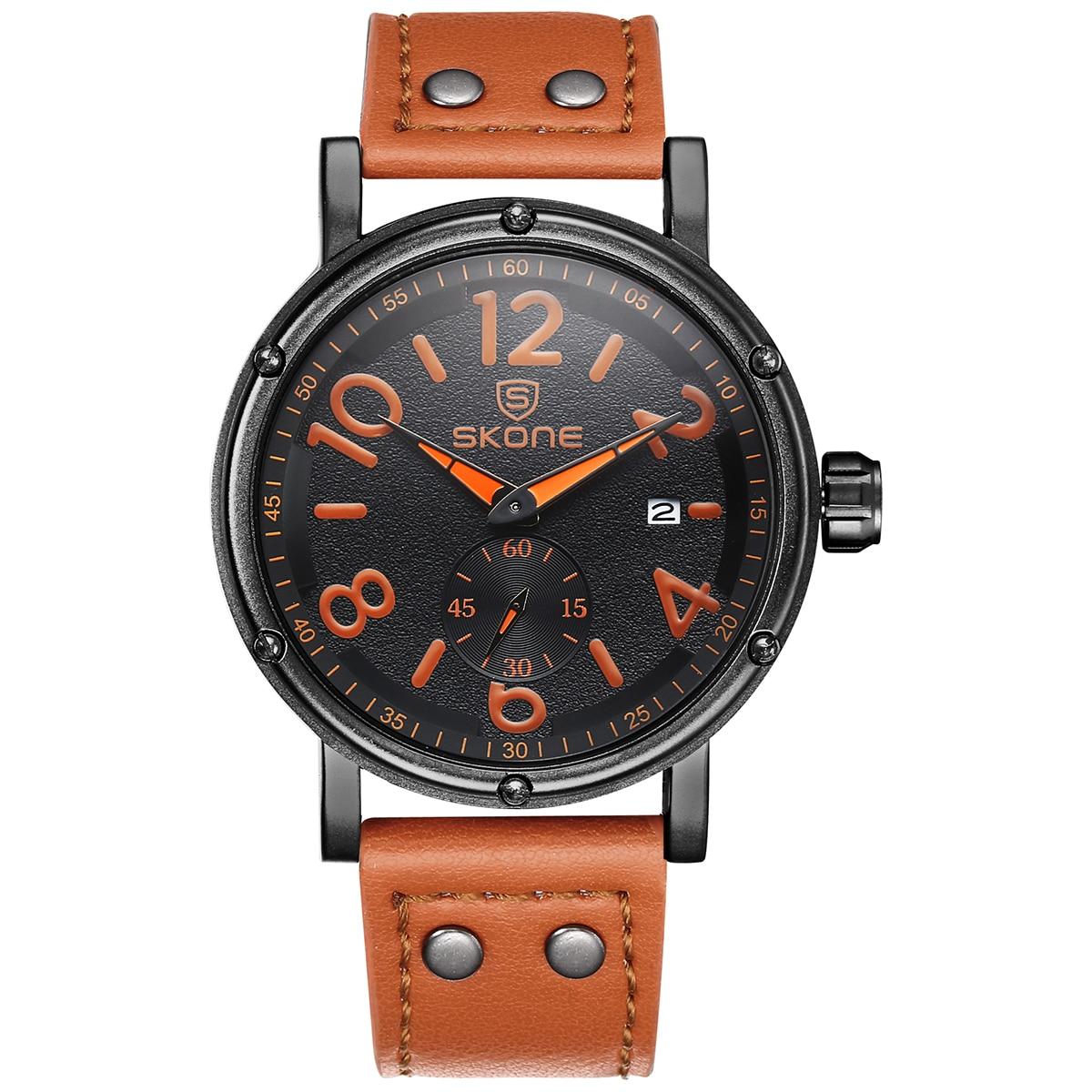 цена SKONE  Independent Small Seconds Dial Calendar Display Quartz Movement Buckle Fashion Men Watch онлайн в 2017 году