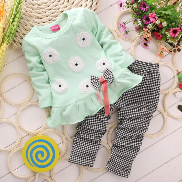 2016-Girls-clothes-Baby-Girl-Clothing-Set-Children-Flower-Bow-Cute-Suit-2PCS-Kids-Twinset-Top-T-Shirt-Plaid-Pants-Leggings-1
