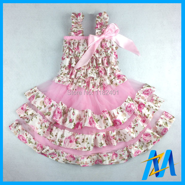 ad597aa28 Floral Newborn Lace   Satin Dress 13 Styles Baby Girls Party Dress ...
