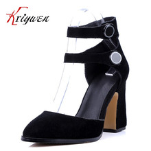 Nubuck leather thick High Heels spring shoes For Women Party Wedding Dress Elegant Sexy cow split suede double buckle lady pumps