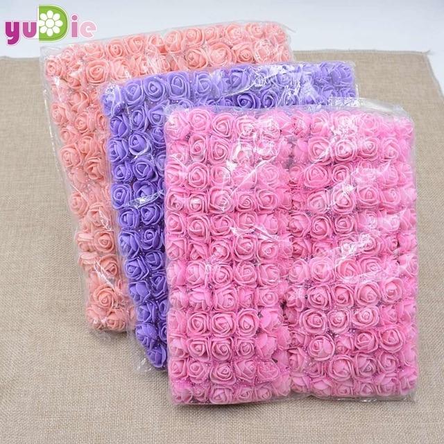 Koop! (144 stks/partij) 2 cm hoofd Multicolor PE Rose Foam Mini Bloem Boeket Effen Kleur/Scrapbooking Kunstmatige foam Rose Bloemen