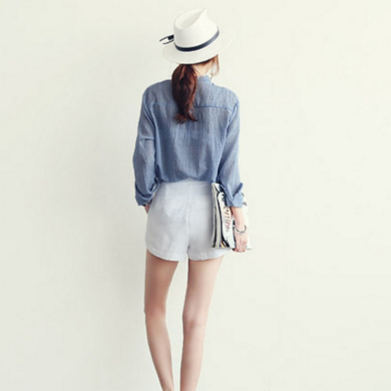 Nuevas Oficina gris blanco Manga De Mujeres Top Verano Tops Blusa Ropa Señora Camisa Larga Mujer Blanca Azul Delgadas rxwrafTn