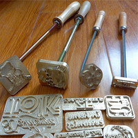 Custom Wood Leather Cake Food Branding Iron With Wooden Handle Personalized Iron Brass Mold For Emboss