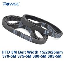 POWGE HTD 5M Timing belt C=370/375/380/385 width 15/20/25mm Teeth 74 75 76 77 HTD5M synchronous Belt 370-5M 375-5M 380-5M 385-5M