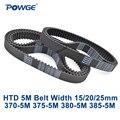 POWGE HTD 5M zahnriemen C = 370/375/380/385 breite 15/20/ 25mm Zähne 74 75 76 77 HTD5M synchron Gürtel 370-5M 375-5M 380- 5M 385-5M