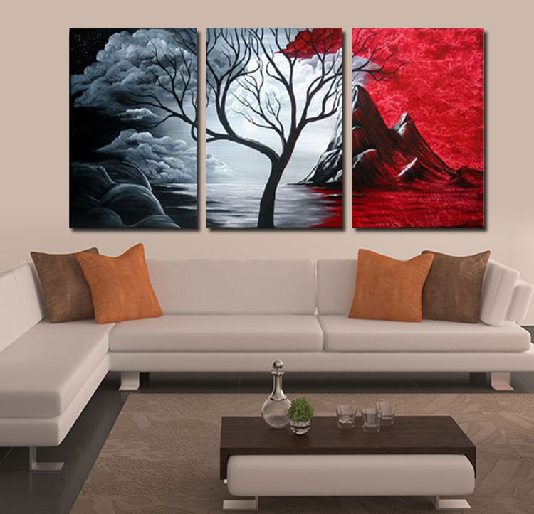 100 Hand Painted Red And Black Cloud Sky Tree Landscape Wall Home Decor Oil Painting