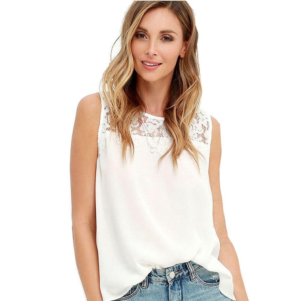 Free Ostrich 2018 Casual Tank Tops Women Summer Chiffon Vest Lace Sleeveless Shirt Blouse Tank Tops Female Blusas T Shirt C1435
