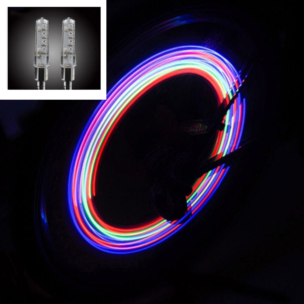 2 Stücke Neon Lichter Farbe Reifen Rad Ventil Kappe Licht Led Lampe Flash Auto Reifen Ventil Kappen Luft Abdeckung Reifen Rim Ventil Rad Stem Cap Kunden Zuerst