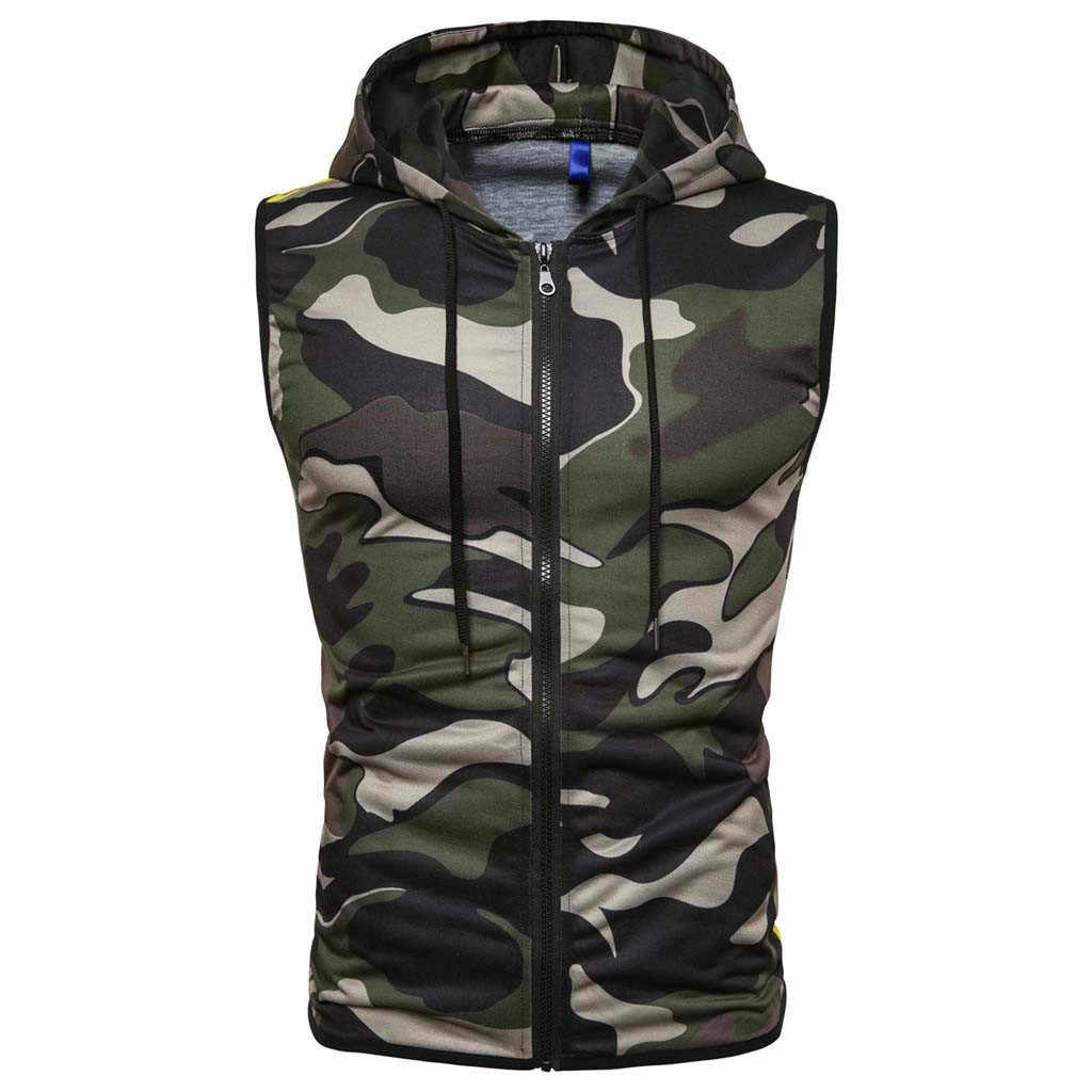 Camouflage Mannen Hooded Vest Zomer Tops Mannen Casual Mouwloze Zip Up Hooded Sport Vest D90702