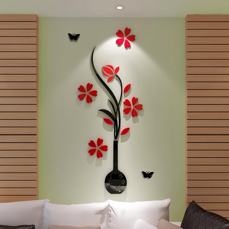 3D Vase Flower Tree Design DIY Wall Stickers Rooms Home Decor Art Decals  Acrylic Decoration Sticker Part 89