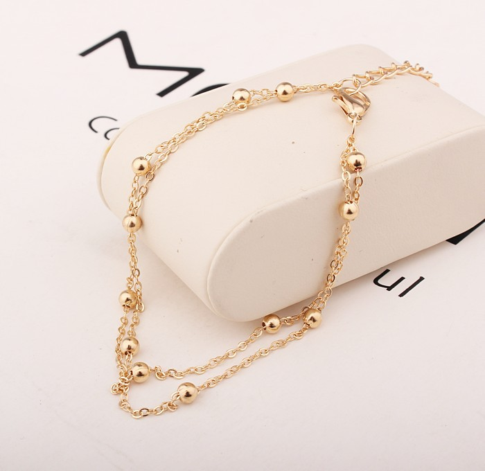 2017 New Fashion Footwear Jewelry Punk Style Gold / Silver Two-color Chain Ankle Bracelet Free Shipping Bracelet