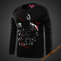 2016 Cool Assassin S Creed Unity Hoodies High Quality 3xl Large Size Black Assassin Creed Sweatshirts