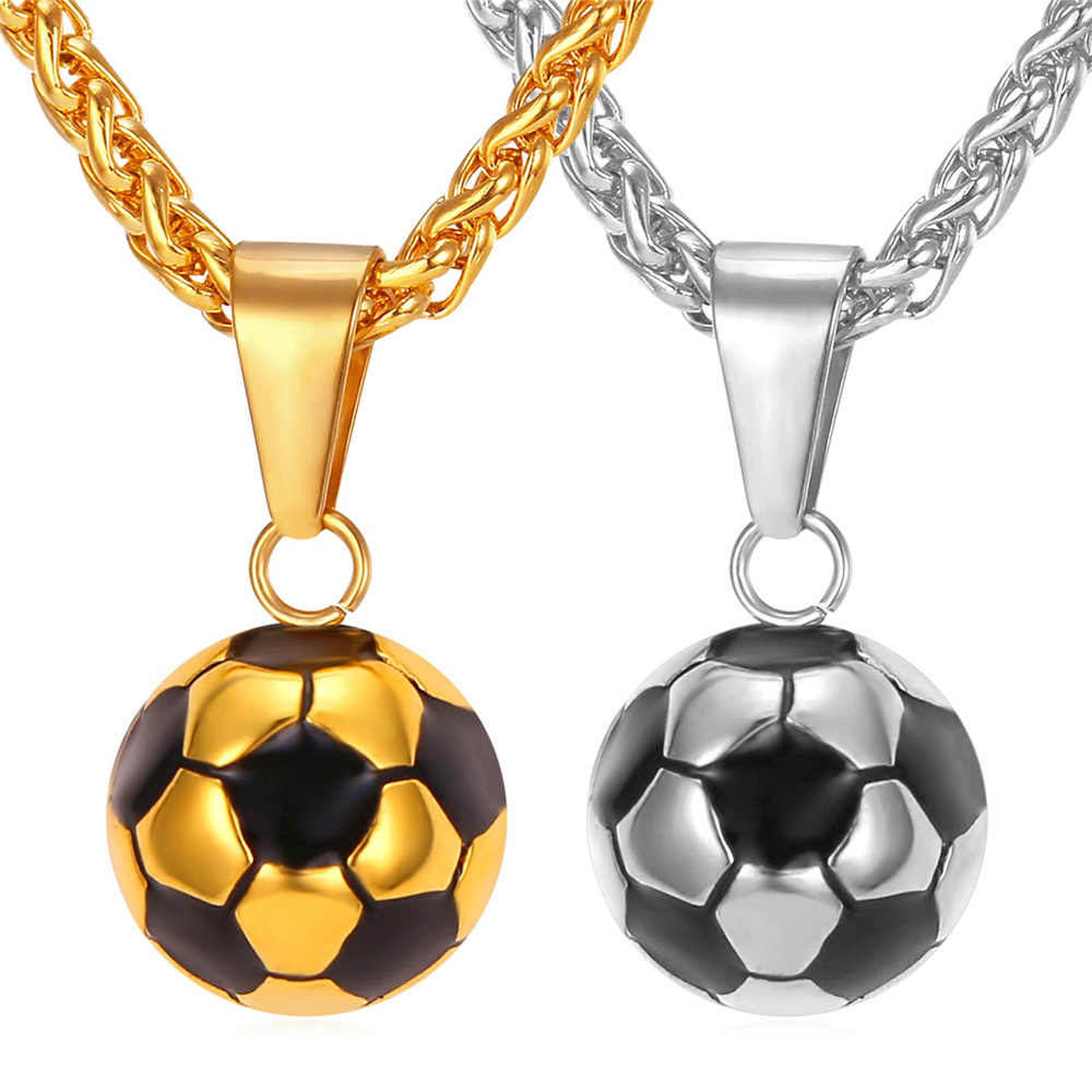 Kpop Football Pendant Sport Jewelry Stainless Steel Gold Color Enamel Soccer Ball Chain Charm Necklace for Men P136
