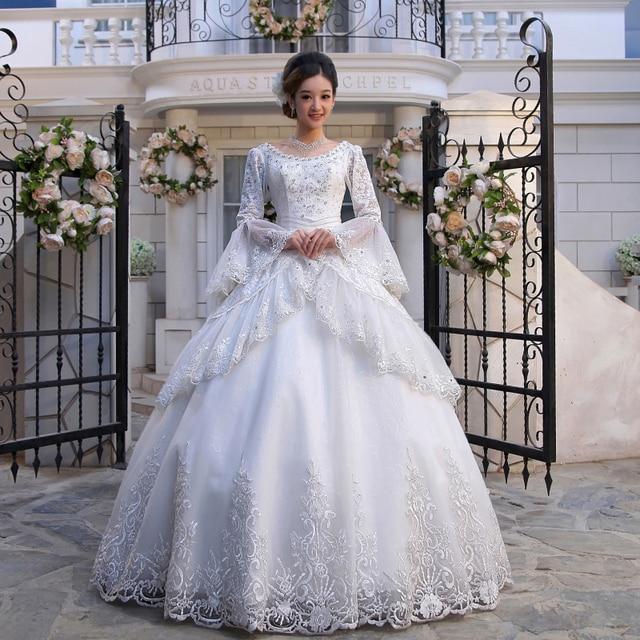 Luxurious Princess Retro Royal Long Sleeve Embroidery Wedding Dress